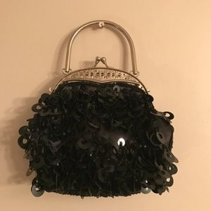 Vintage Black Sequin Evening Bag/ Clutch